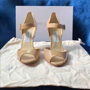 Jimmy Choo patent leather nude peep toe 37 1/2